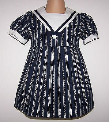 NWT Laura Ashley vintage Mother & Enfant style marin robe fille, 12-18 mois