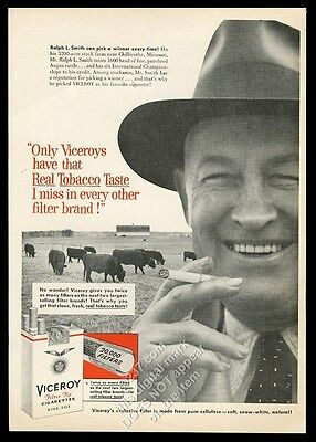 1956 Black Angus cow cattle Missouri ranch photo Viceroy cigarette print ad