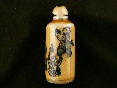 Great Antique Chinese Blue & White Porcelain *Children* Snuff Bottle N029