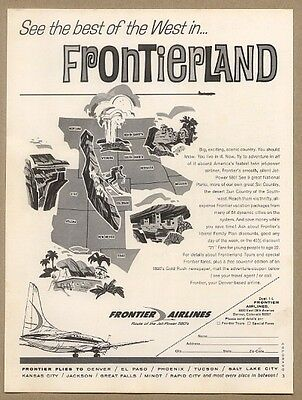 1965 Frontier Airlines Frontierland western states vacation map vintage ad