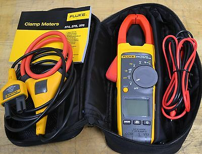 Fluke 376 True-RMS AC/DC Clamp On Current Meter w/iFlex, Test Leads, GOOD