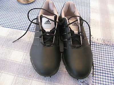 Adidas Traxion Thintech Climaproof Teen/mans Striped Golf Shoes 7 1/2 Used Once