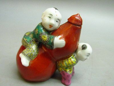 Chinese Porcelain Carved Child Gourd Shape Snuff Bottle