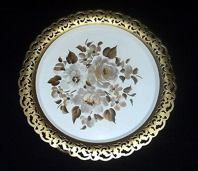 VINTAGE White RITCULATED NASHCO Hand Painted TOLEWARE Floral Tole TRAY~LACE EDGE