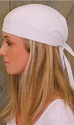 WHITE REAL COW HIDE LEATHER Biker SKULL CAP BEANIE HEAD-WRAP DOO DU RAG BANDANA