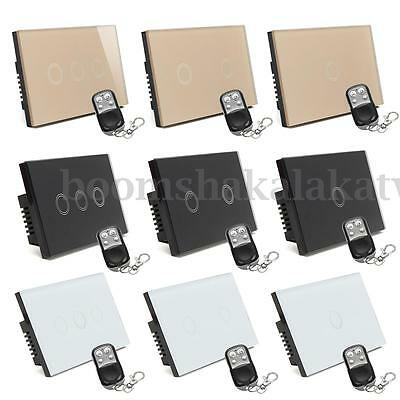 1/2/3 Gang 1 Way Smart Touch Control Light Switch Crystal Glass Panel + Remote