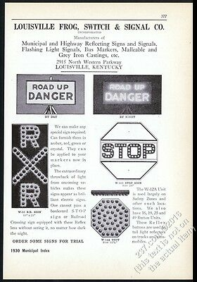 1930 Louisville Frog road highway lighted stop sign danger flasher print ad