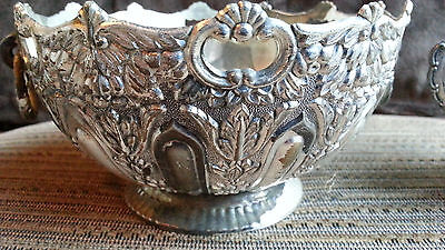 W&S Blackintons Silverplate Antique Ornate Pierced Silver Plate Bowl w/ Handles