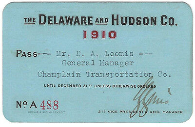 Pass - Delaware & Hudson Co. 1910 Annual Pass