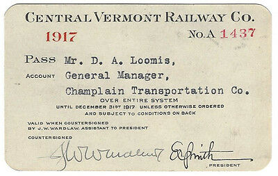 Pass - Central Vermont Railway 1917 Annual Pass