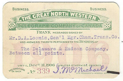 Pass - Great North Western Telegraph Co. of Canada 1906 Annual Frank