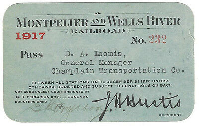 Pass - Montpelier & Wells River Railroad 1917 Annual Pass
