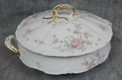 """Antique Theodore Haviland 8.5"""" Lidded Serving Bowl~Pink Roses w/Blue Flowers"""