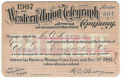 Pass - Western Union Telegraph Co. 1907 Annual Frank