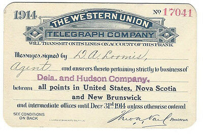 Pass - Western Union Telegraph Co. 1914 Annual Frank