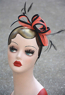 Orange Womens Sinamay Feather Cocktail Fascinator with Piping A353