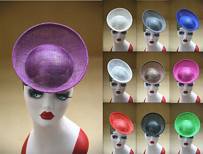 "7.9"" Round Saucer Sinamay Teardrop Percher Hat Fascinator Millinery Base B063"