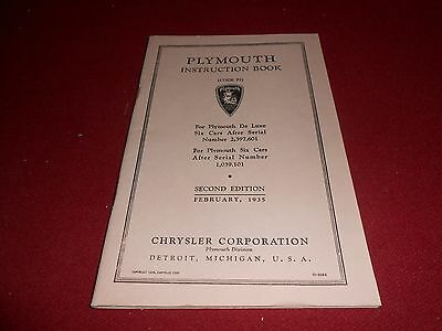 1935 PLYMOUTH PJ INSTRUCTION BOOK / 35 OWNER MANUAL, Second Edition, Feb. 1935