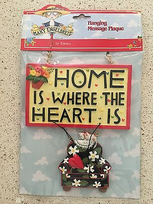 """Vintage Mary Engelbreit """"Home is where the Heart is"""" Hanging Message Plaque"""