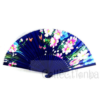 Dark Blue Chinese  Bamboo Floral Silk HAND FAN for  Wedding Party Gift New A2