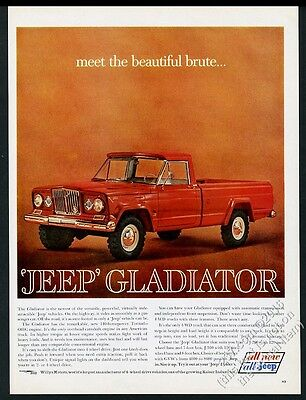 1963 Jeep Gladiator red pickup truck color photo vintage print ad