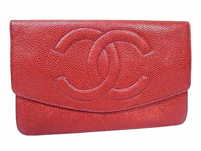 Authentic CHANEL Caviar Leather GHW Bifold Long Wallet Coco Red S371