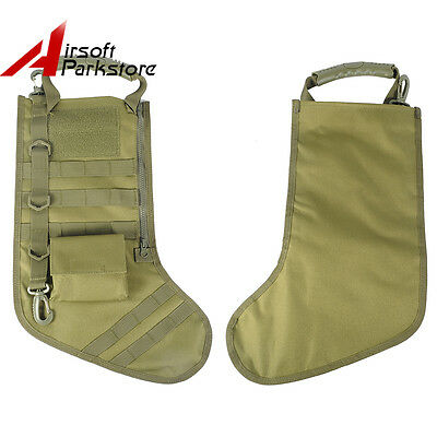 Tactical Military Army MOLLE Christmas Stocking Socks w/ Handle Gift Olive Drab