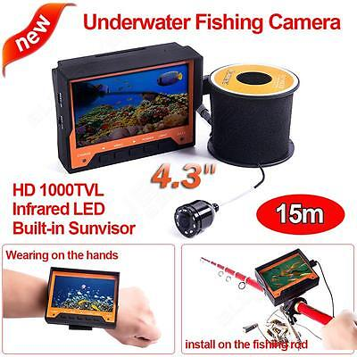 4.3inch LCD Monitor Wearable Fish Finder 1000TVL Video Fishing Camera 15M Cable