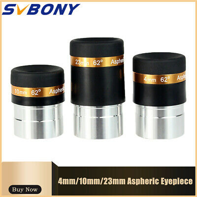 """1.25"""" HD 4/10/23mm Wide Angle 62° Aspheric Telescope Eyepiece Set Astronomy Part"""