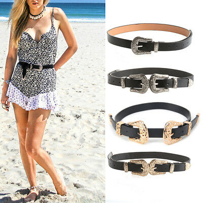 Women Fashion Vintage Metal Waistband Waist Band Belt Double Buckle Accessory