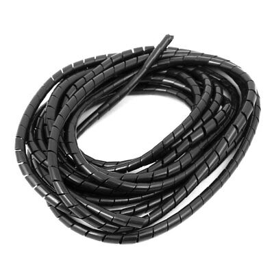 5mm Flexible Spiral Tube Cable Wire Wrap Computer Manage Cord Black 4 Meter