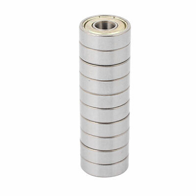 10pcs Metal Mute Deep Groove Sealed Shielded Ball Bearing Silver Tone 7x19x6mm