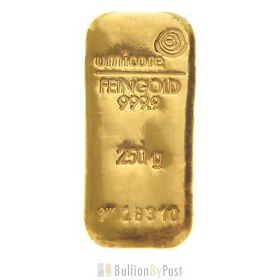 Umicore 250 Gram Gold Bullion Bar