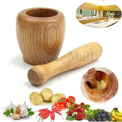 Wooden Garlic Ginger Herb Mixing Grinding Spice Crusher Bowl Mortar and  Pestle