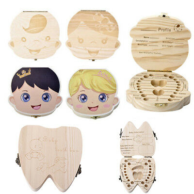 Baby Kids Tooth Wood Box Organizer Save Milk Teeth Boy Girl Storage Gift Box US