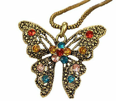 New Super Charm Fashion Jewellery Colorful Crystal Butterflies Necklaces Pendant