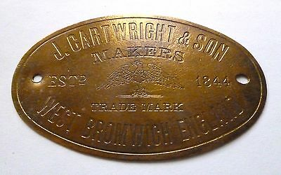 J.cartwright & Son - West Bromwich England  / Safe Plate