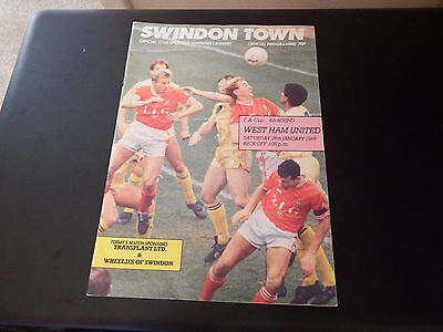 SWINDON TOWN v WEST HAM FA Cup 4th Rd. 1989