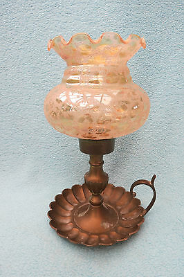 Vintage Brass Finger Candle Holder With Glass Shade