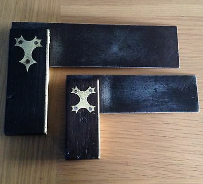 """2 Vintage Carpentry Brass Inlaid Set Squares 6"""" And 4"""""""""""