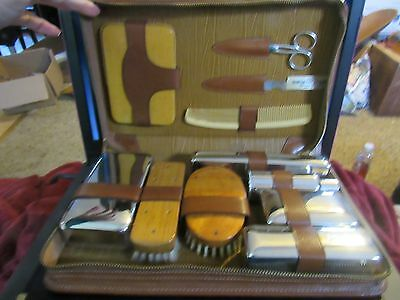 Vintage  Travel Toiletry / Grooming Kit in Top Grain Cow Leather Case 11 Pieces