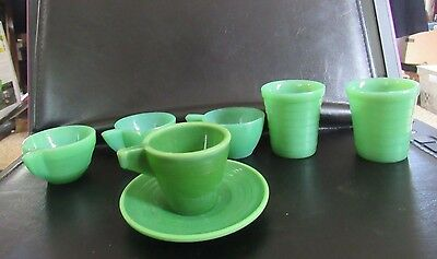 Vintage LOT AKRO AGATE CHILD'S  SET Tumblers, saucer, mugs cups 7 pc