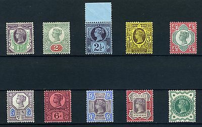 GB Queen Victoria The Jubilee issues 1887 mint 1/2d to 10d