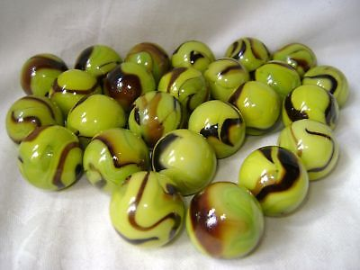 NEW 25 GRASSHOPPER 25mm GLASS MARBLES TRADITIONAL GAME or COLLECTORS ITEMS HOM