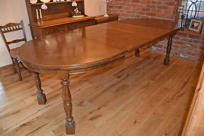"Antique c1910 Dark Oak 5' Oval Extending (8'4"") Dining Table"
