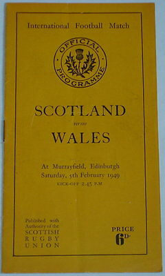 Scotland Wales Rugby Union Programme 1949