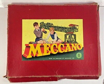 Vintage 1940's Meccano Set # 1 Made in England Missing Pieces Sold As Is