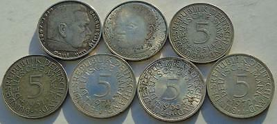 Collection of 7 Germany Silver 5 Marks, 1936-D, 1966-G 1972-J 1974-J 1978-D etc