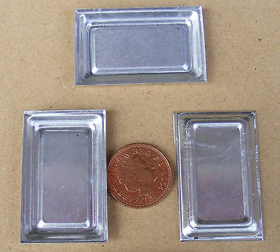 1:12 Scale 3 Tin Tray's Dolls House Miniature Metal Food Baking Tray Accessory L