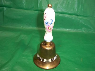 VINTAGE BRASS  HAND BELL  lovely bell with ceramic handle